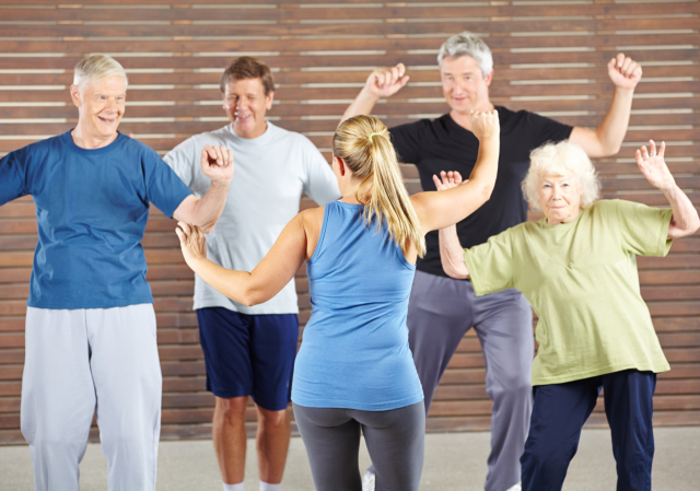 Group of elder people exercising