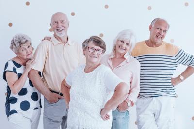 group of senior smiling